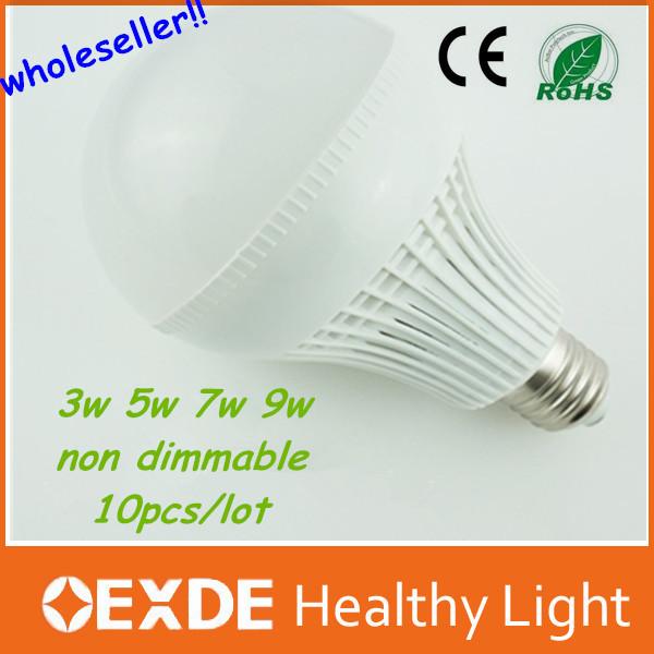 wholeseller !! 10pcs/lot china market big discount led light bulb 3/5/7/9w warm white plastic body light led bulb(China (Mainland))