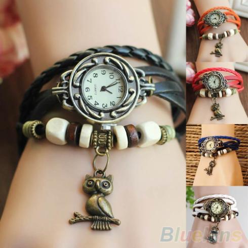 Гаджет   Women Girls Retro Braided Leather Bracelet Owl Decoration Quartz Wrist Watch  None Ювелирные изделия и часы