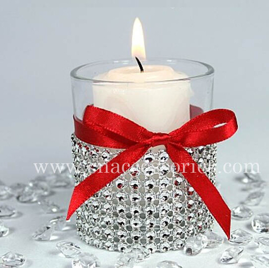 "Wedding decoration Wrap 4.75""x 1 Yards 4.55 meters Silver Diamond Mesh Rhinestone Crystal chair hair candle Ribbon party decor(China (Mainland))"