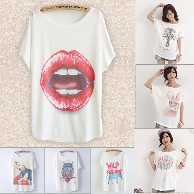 2015 summer sexy lip women's t shirts batwing sleeve loose print T-shirt women tshirt plus size tops camisetas femininas casual(China (Mainland))