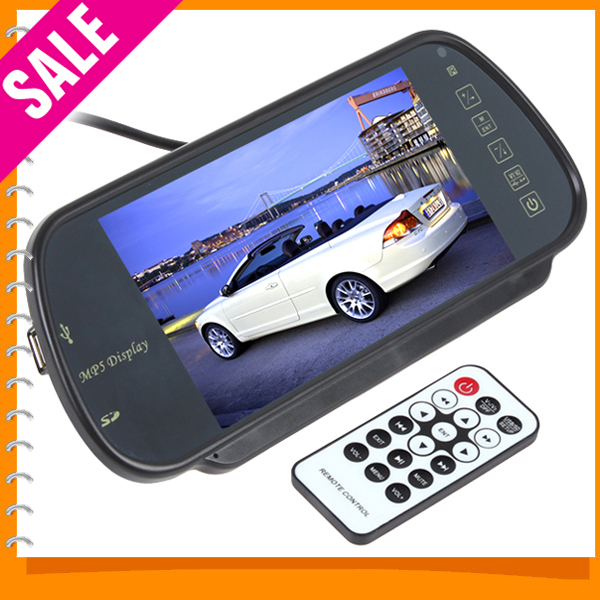 7 Inch Color TFT LCD MP5 Car Rear View Mirror Monitor Auto Vehicle Parking Rearview Monitor SD/USB FM Radio For Reverse Camera(China (Mainland))