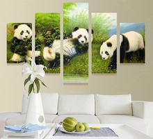 Buy 5 Panel Modern Printed Animal Bearcat Panda Wall Art Picture Canvas Cuadros Oil Painting Numbers Home Decor Living Room for $13.48 in AliExpress store