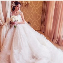 2016 New Arrival Fashionable Ball Gown Wedding Dresses Tank Sweetheart Sleeveless Tank Lace Silk Organza Vestido De Noiva Custom(China (Mainland))