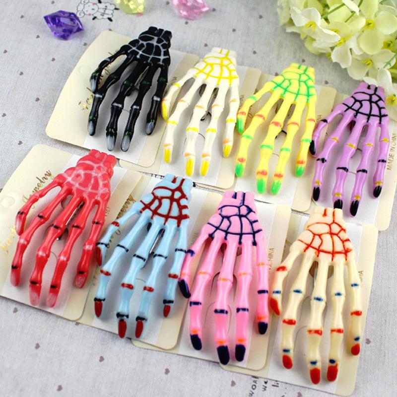 5pcs/lot Mix Colors Skull Hand hairclip Halloween hair clip hairpins DIY hair accessories for women girls E105(China (Mainland))