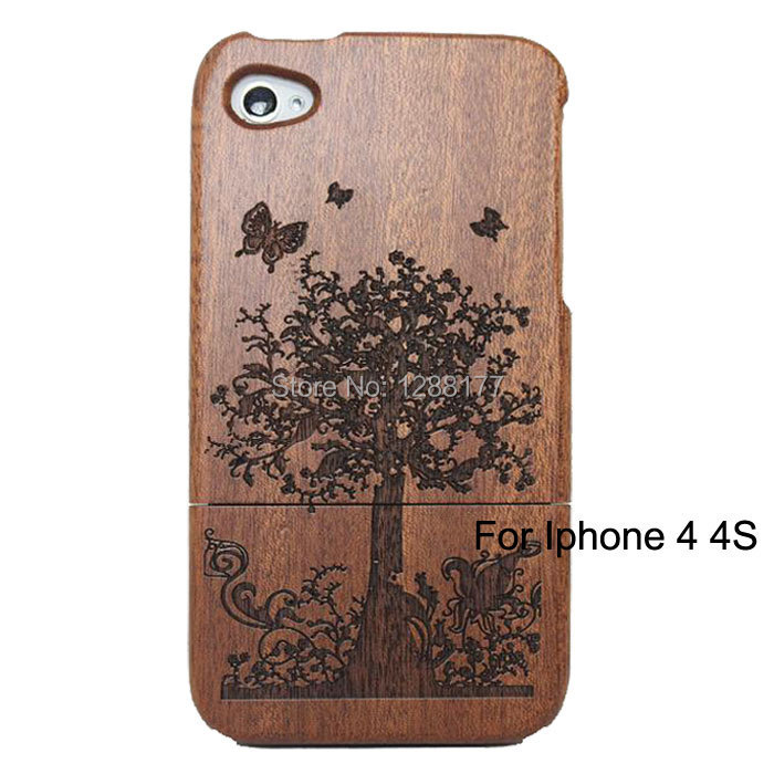 Wooden Hard Back Cover Deep Bamboo Sapele Wood Case for iPhone 4 4s Free Shipping(China (Mainland))