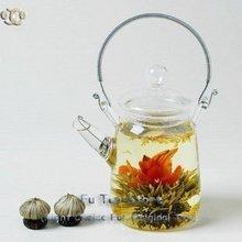 1 pcs Glass Teapot + 9 pcs different Blooming Tea No Dripping heat-resistant glass handmade tea pot blooming tea flower kettle(China (Mainland))
