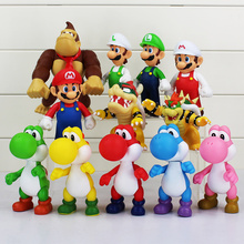 8~15cm Super Mario Bros Bowser Koopa Yoshi Mario Luigi Donkey Kong PVC Figure Toys Model Dolls(China (Mainland))