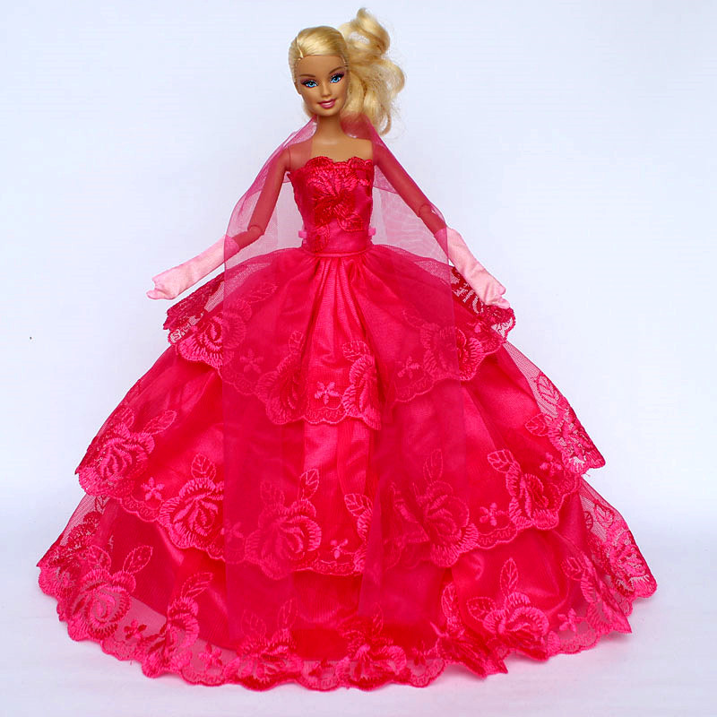 Dress + Glove + Tippet / Handmade Gorgeous Gown Warm Red Flower Embroider 3 layer Evening Dress Clothes For Kurhn Barbie Doll(China (Mainland))