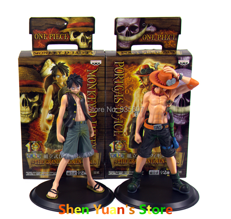 2015 New Japan Anime One Piece Monkey.D.Luffy Portagas D Ace PVC Action Figure Set Toys Gifts(China (Mainland))