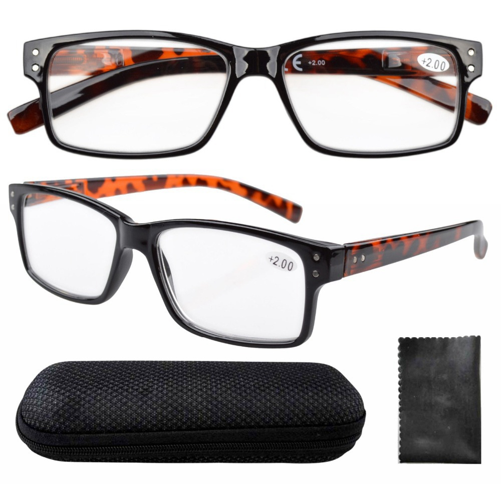R032 DEMI ARM Spring Hinges Vintage Reading Glasses Men With Case+0.0/0.5/0.75/1.0/1.25/1.5/1.75/2.0/2.25/2.5/2.75/3.0/3.5/4(China (Mainland))