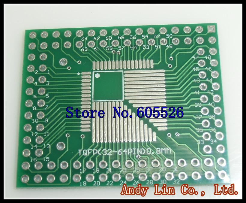 10pcs/lot QFP/FQFP/LQFP TQFP32 / TQFP44 / TQFP64 / TQFP80 TQFP100 0.5MM 0.8MM IC adapter Socket / Adapter plate PCB(China (Mainland))