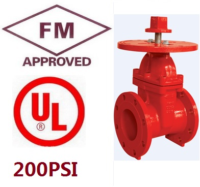 """FM approved UL listed 5"""" 200psi Ductile Iron DI Flanged Ends PIV NRS Gate Valve For Fire Protection Resilient Wedge(China (Mainland))"""