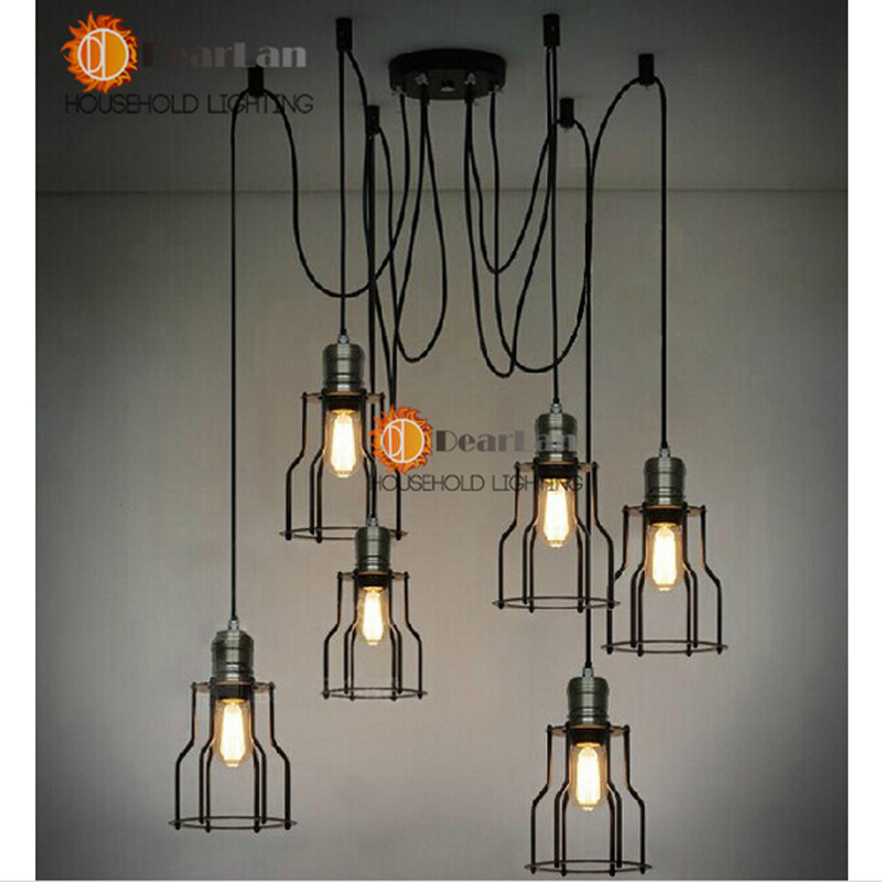 Vintage Edison Pendant Lamps With 6 Heads Which Height Could be Adjusted,Best Matching Indoor Dinning Room,Living Room,Bed room<br><br>Aliexpress