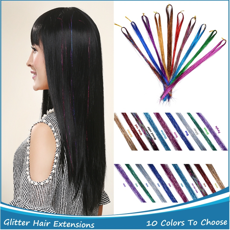 Wholesale Synthetic Hair Extensions Rainbow BellaVia Tinsel Hair Extension Bling String 3D Hairpieces 10PCS + 1PC Woolden Hook <br><br>Aliexpress