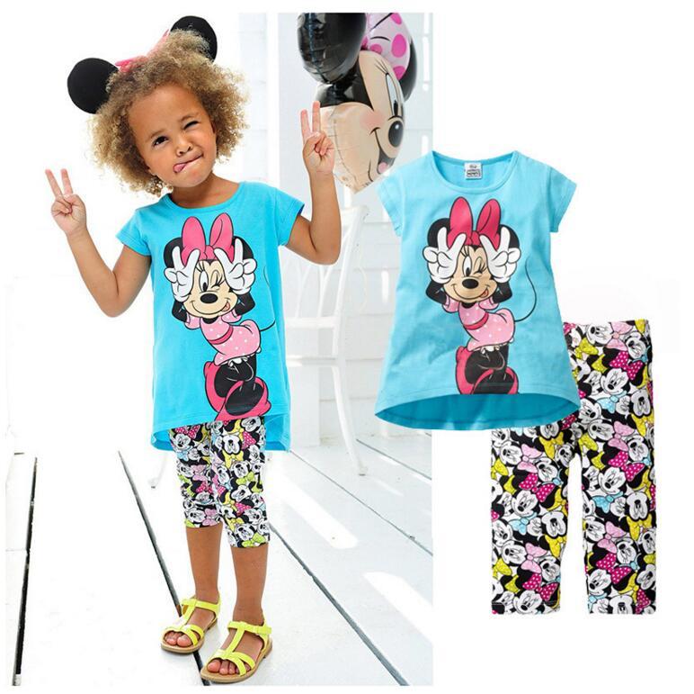 2016 Girls Clothing set casual Minnie clothes pants sport suit 2pcs/set baby kids children fashion 100% cotton - baby's dream world store