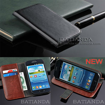 luxury genuine leather credit card holder flip cell phone s3 case cover for samsung galaxy s iii i9300 with stand