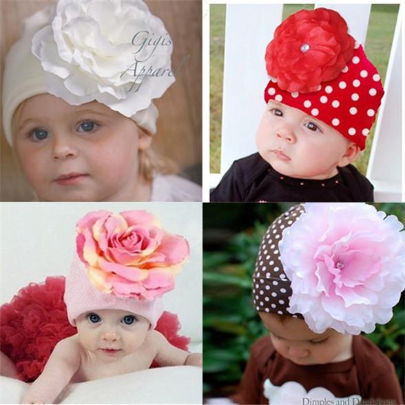 New Hot Kids Baby Winter Hat Newborn Photography Props Big Flower Hat Cap Beanie 3M-3Y Freeshipping