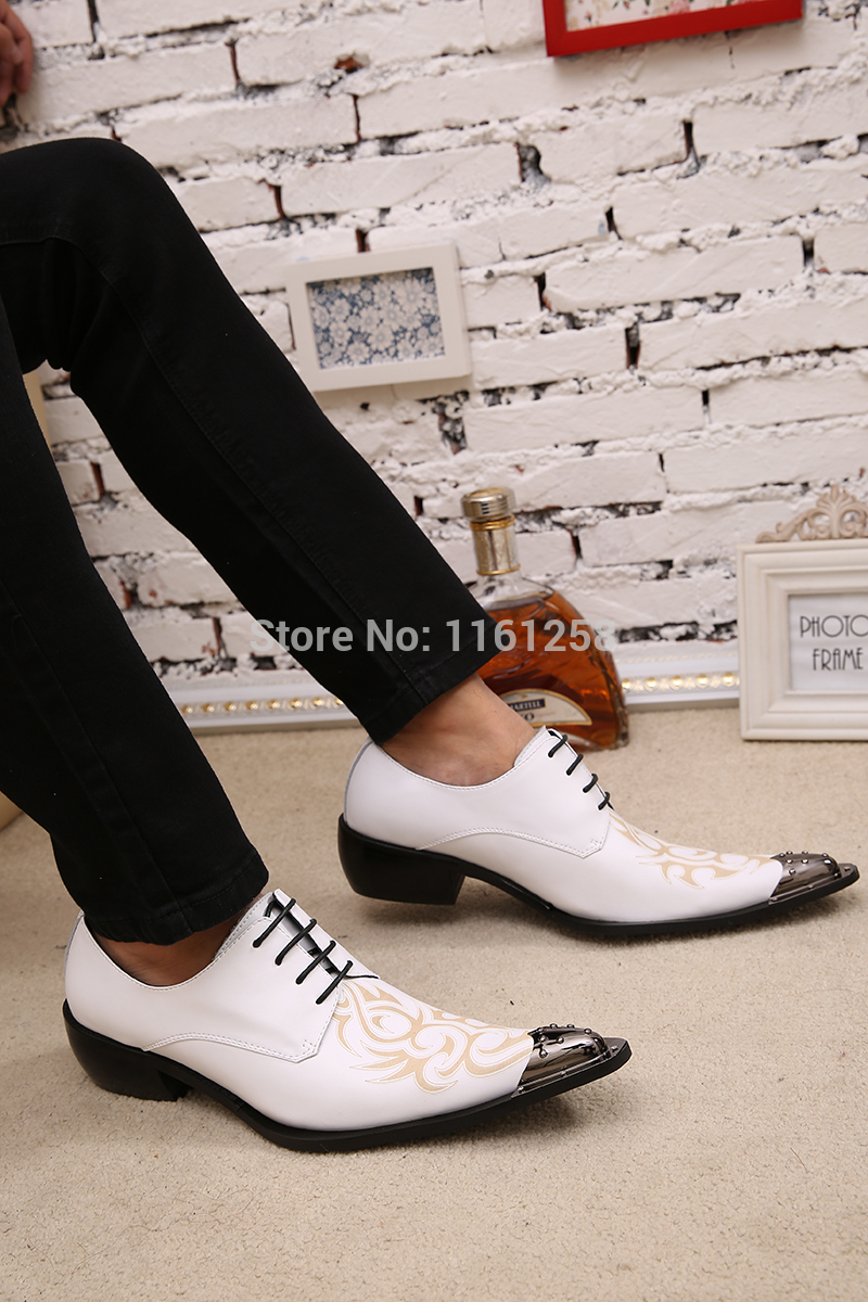 Mens leather shoes fashion trends pointed toe hairdresser shoes stylist England Lace Up White Wedding Metal tip Sexy Mens Shoe<br><br>Aliexpress