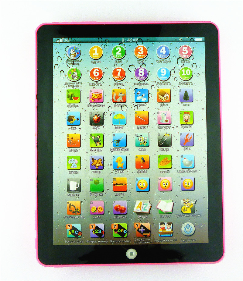 2015 New Russian Touch Tablet Computer Toy Mini IPad Design Children Study Machine Kid Learning Toy Best Gift for kids(China (Mainland))