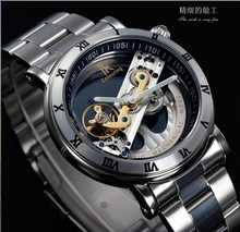 2014 New Design Watches steel Brand Ik Colouring Hollow Automatic Mechanical Watch Men Skeleton Swimming Watches 50M Waterproof()