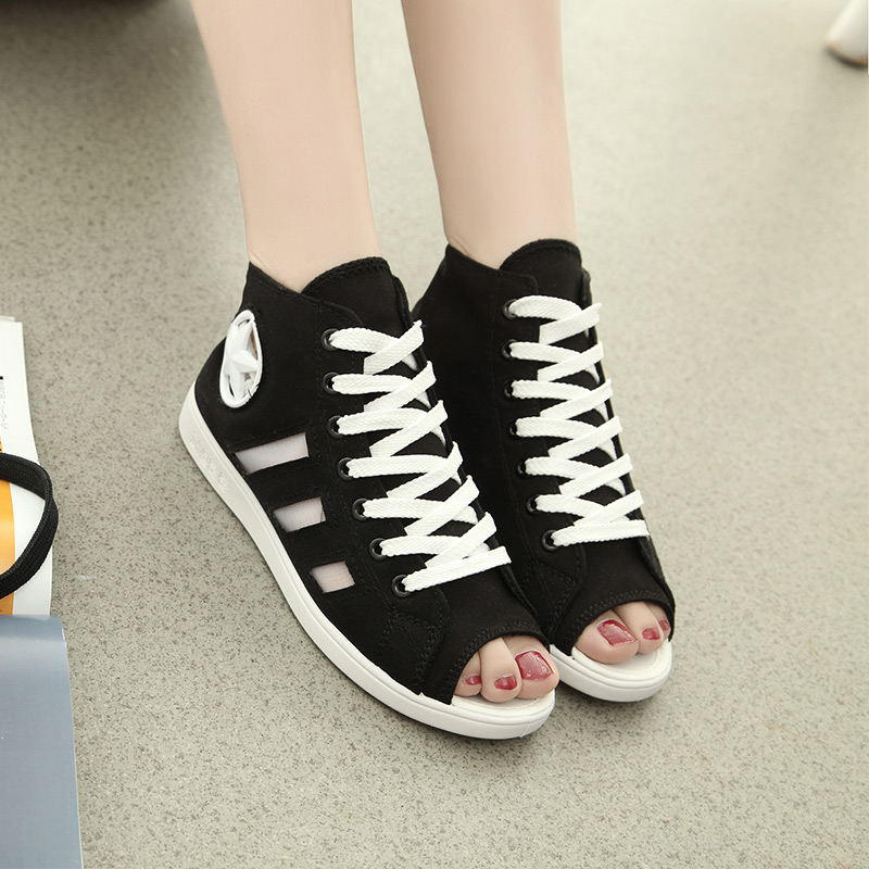 2015 high canvas shoes open toe cutout s flat shoes