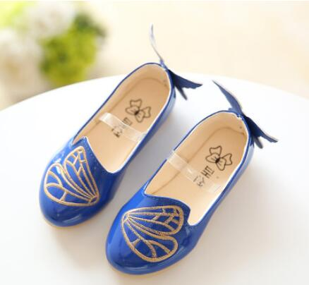 New 2016 sping ang autumn kids shoes girls PU leather shoes children embroidered butterfly flat shoes baby casual shoes 004