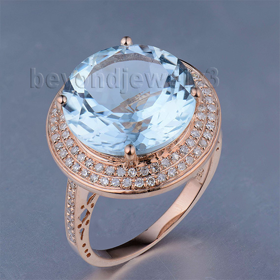 Genuine Topaz Stone Womens Rings Solid 14Kt Rose Gold Natural Blue Topaz Diamond Engagement Ring, Natural Gemstone Ring(China (Mainland))