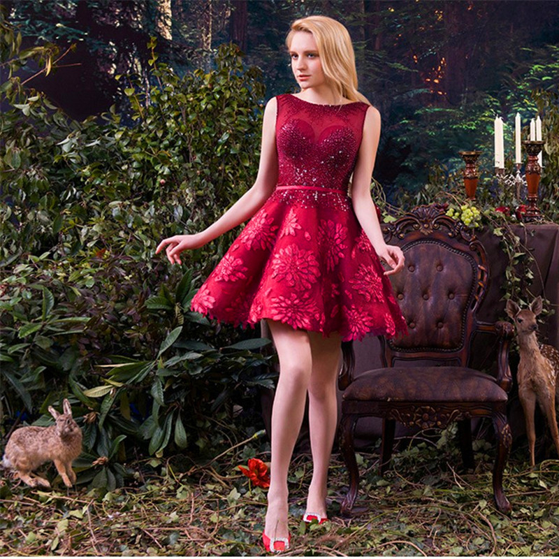 Knee Length Red Bridesmaid Dresses High Grade Short Wedding Party Dress High Quality Appliques Toast Ball Gowns.(China (Mainland))