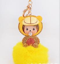 Hot Sale 2016 Monchichi Keychain 18K Gold Plated Monchhichi Key Valentine's Day Gift Holder Bag Pendant Car Key Chains New(China (Mainland))