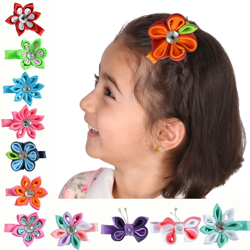 Small Handmade Hair Bows For Girls Kids 2 - 2.5inch Sweet Flower Hair Clip Ribbon Barrette Girl Hair Accessories 12PCS XC-A04(China (Mainland))
