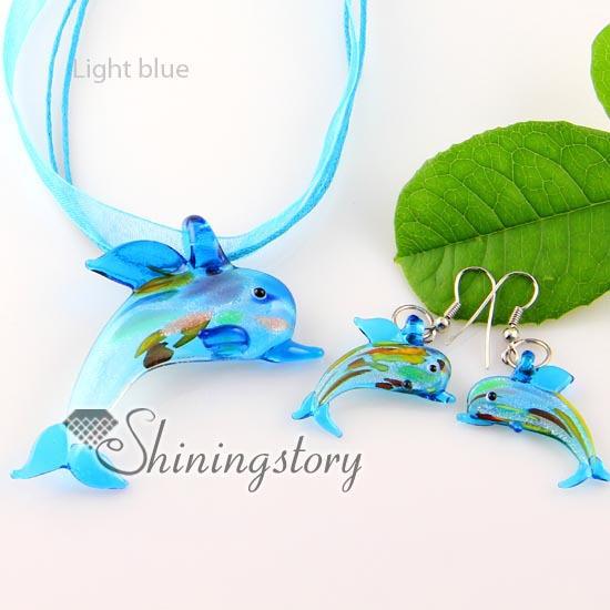 dolphin silver foil blown lampwork murano glass pendants earrings jewelry sets cheap fashion jewellery - Shiningstory store