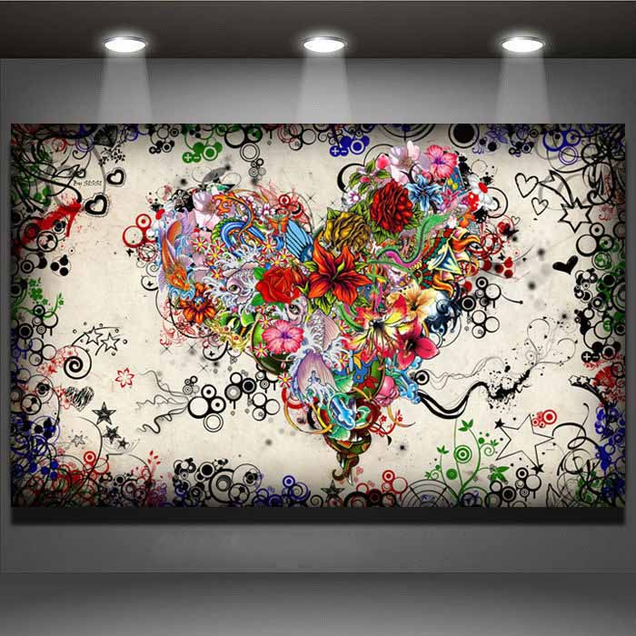 No frame Modern wall art picture heart flowers Painting On Canvas Canvas Prints Painting Pictures Decor For Living Room(China (Mainland))
