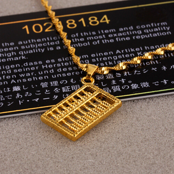 24k gold-plated pendant necklace Korean ornaments female models small abacus pendant jewelry X09(China (Mainland))