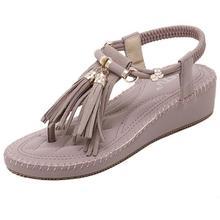 Fashion Flip Flops 2016 Summer Bohemia Thick Heel Tassel Sandals Flats Ankle Strap Womens Beach Shoes Plus Size 225-250mm