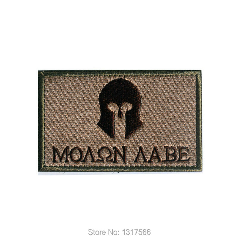 80*50mm MOLON LABE WAR Shoulder Embroidered Patches Badge Military Tactical Clothing Backpack Baseball Caps Badges Armband(China (Mainland))