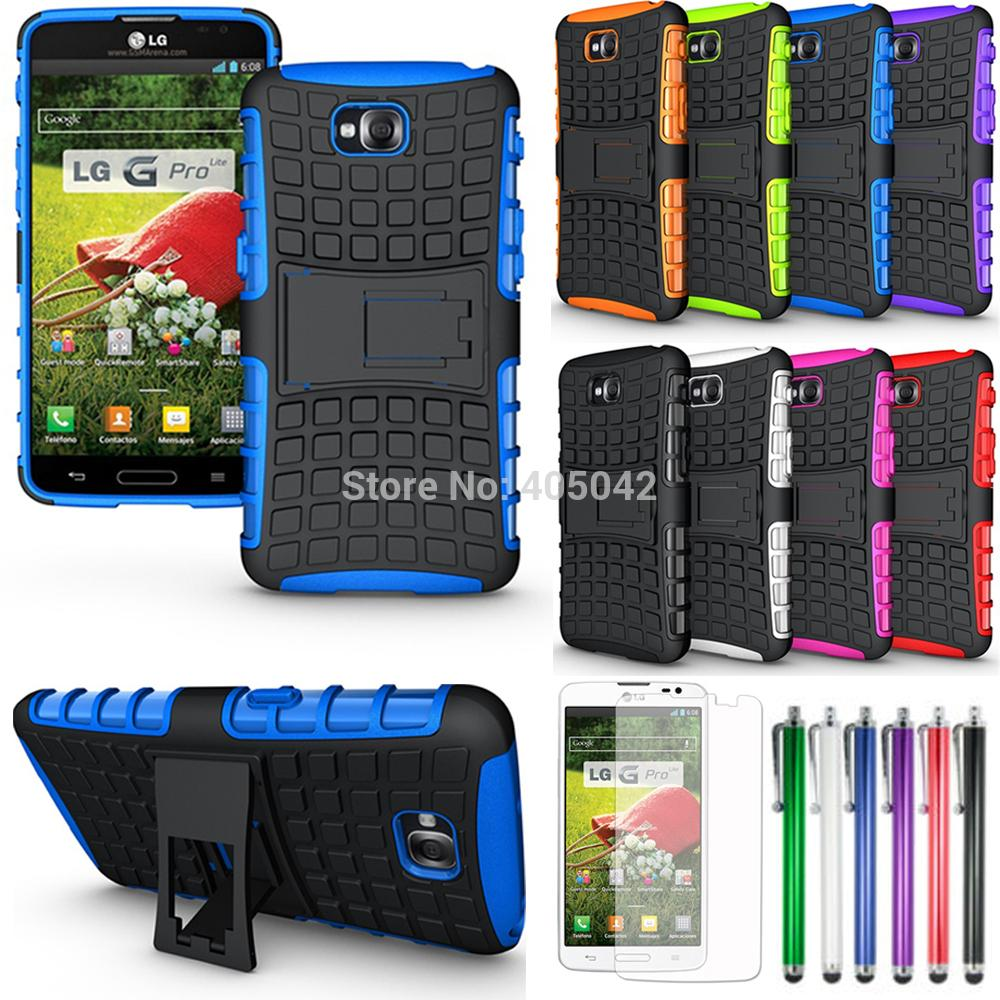 Protective Armor Heavy Duty Hybrid Stand Case Protective Cover for LG G Pro Lite D680 D682 (1 case+1 pen+3 films)(China (Mainland))