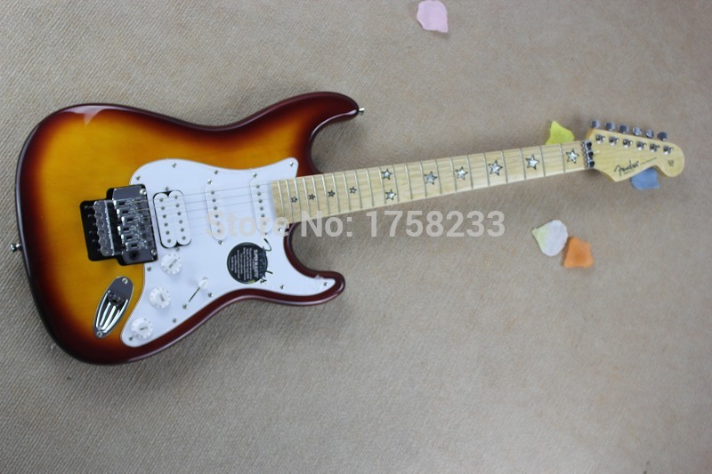2019 Free shipping new Stratocaster electric guitar fretboard double roll pentagram(China (Mainland))