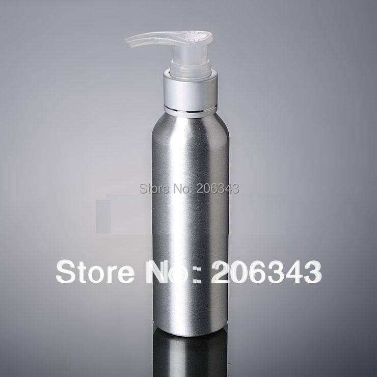 100pcs 120ml Aluminium bottle pump  bottle with transparent pump