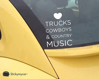 Love Trucks, Cowboys and Country Music cute car decal sticker window truck girl,funny car stickers(China (Mainland))