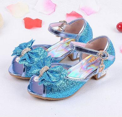 Девушки сандалии 2016 высокие каблуки дети принцессы кожа лето эльза обувь chaussure ...