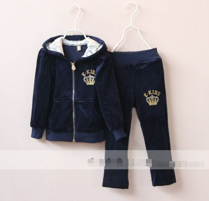 2016 New Girls baby Imperial crown printing hooded pleuche jacket + pants suit pink blue wholesale<br><br>Aliexpress