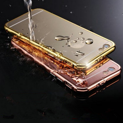 2016 luxury coque aluminium Mirror mobile phone bag back cover i phone6 phone5 4.7inch case for Apple iphone 6s 6 s 5 5s plus(China (Mainland))