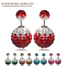 2015 Newest Luxury Crystal Earrings 9Colors Flower Double Ball Pearl Christmas Earrings For Women MOQ 1Pair Free Shipping