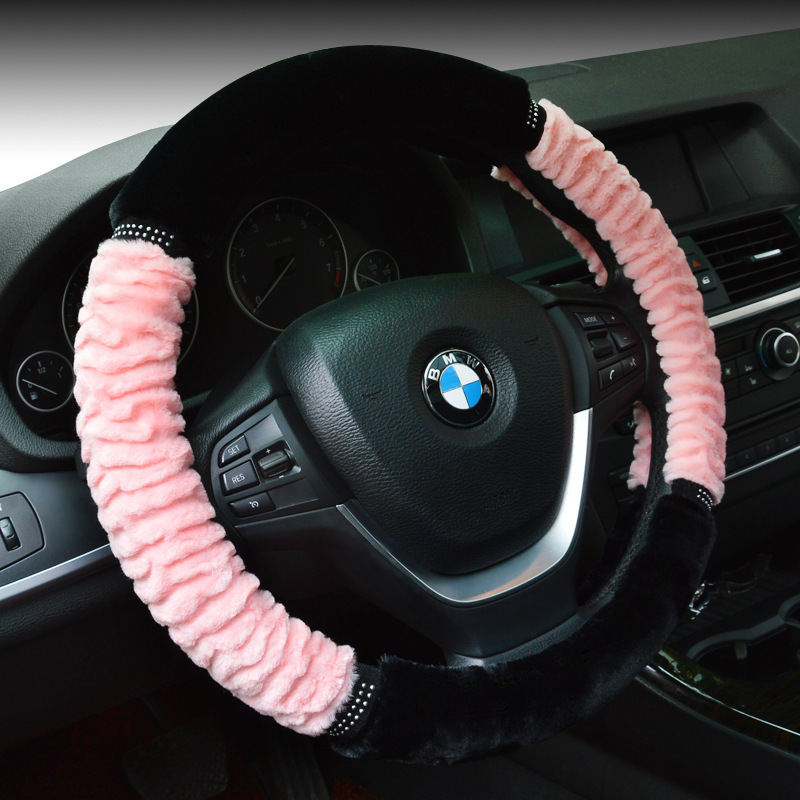 "Plush zebra lines with soft nap Type Car Steering Wheel Cover Anti-Slip Breathability Keep Dry skidproof 38CM 15"" Suede(China (Mainland))"