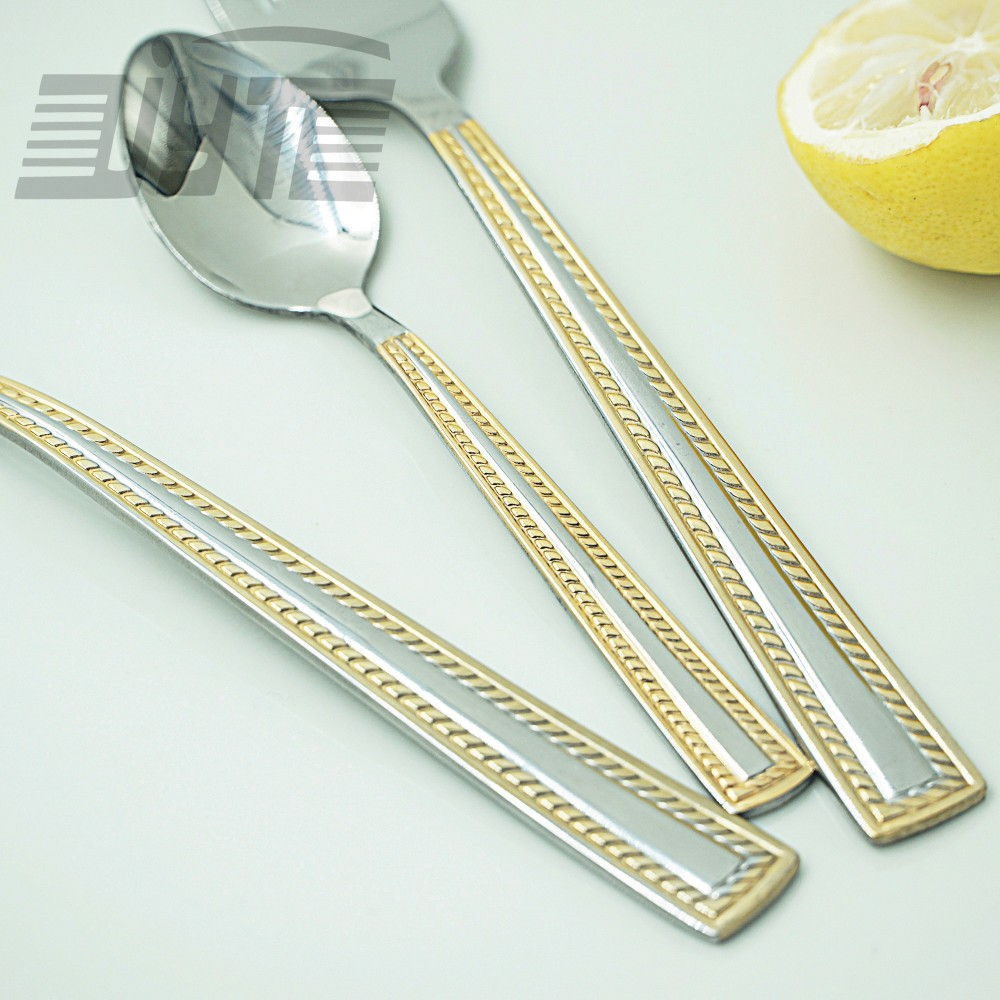 Buy Golden Border Quality Eco-friendly Stainless Steel Flatware Set 24 Pieces Spoon Knife Fork Gold Plated Dinnerware Hand Polish cheap