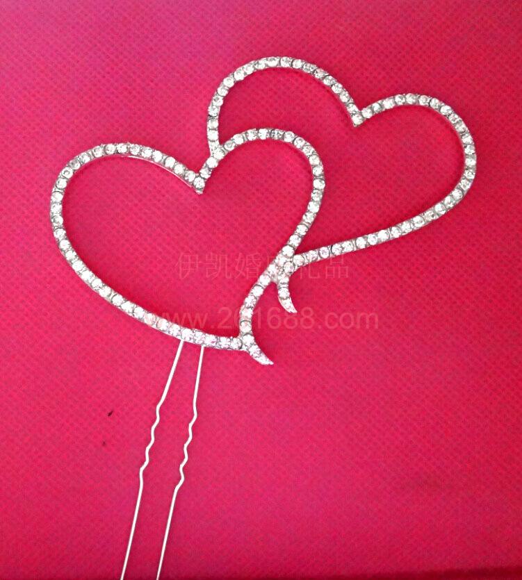 Brand New Crystal Rhinestone Double Heart Cake Topper Wedding Decoration(China (Mainland))