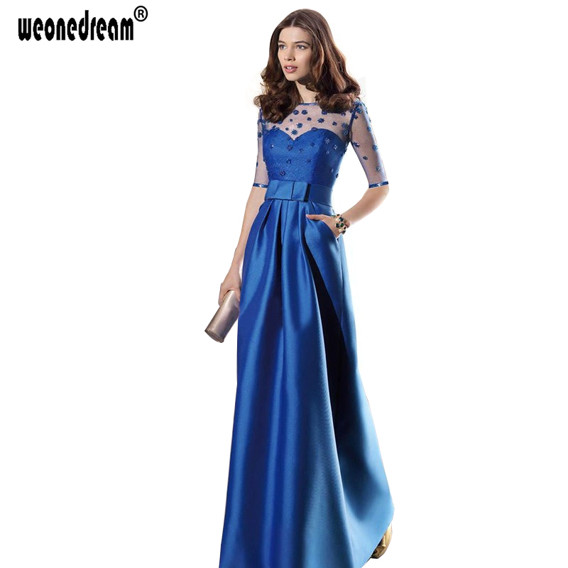 2016 New Sapphire Plus Size Long Evening Dresses Bow Perspective Sexy Elegant Formal Gown Blue Cheap Formal for Party Wedding(China (Mainland))
