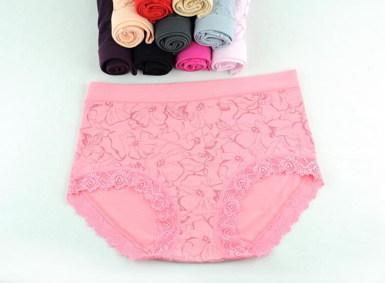 5PCS/Lot High Quality Female High Waist Large Size Briefs Bamboo Fiber Lace Panties U222(China (Mainland))