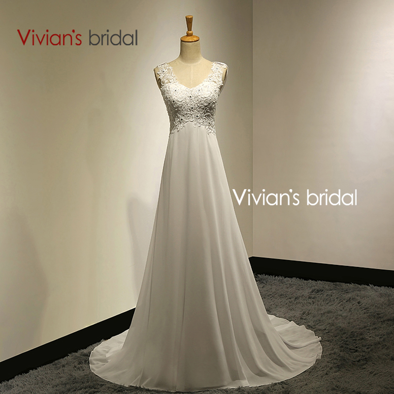 Vivian's Bridal 2015 Summer A-Line Sexy Chiffon Beach Wedding Dresses Hot Sale 2015 robe de mariee For Bride From China VB10(China (Mainland))