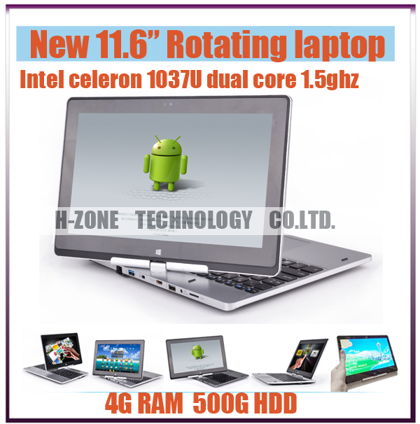Russian Keyboard Windows7/8 Notebook 360 Rotating 10 Points Touch Screen Laptop 4GB RAM 500GB HDD Intel Celeron Dual Core 1.8GHz(Hong Kong)
